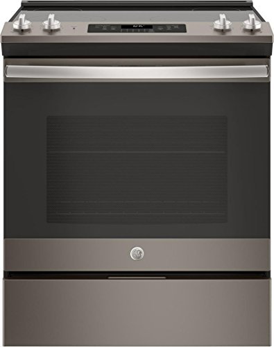 GE Slate Series 30 Inch Slide-in Electric Range with Smoothtop Cooktop, 5.3 cu. ft. Primary Oven Capacity, Storage Drawer, Delay Bake, Self-Cleaning Mode, Dual-Element Bake in Slate - Series Electric Range
