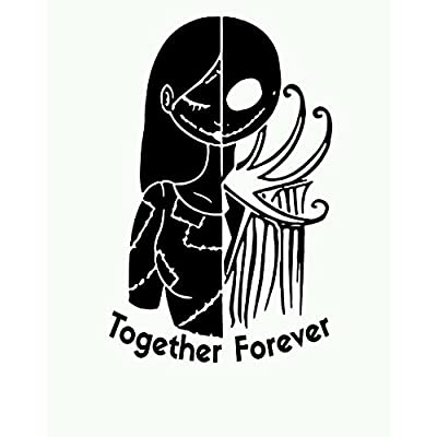 Nightmare before christmas car decal Jack and Sally Love window decal, Die cut vinyl decal for windows, cars, trucks, tool boxes, laptops, MacBook - virtually any hard, smooth surface: Computers & Accessories