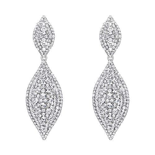 (Flyonce Women's Crystal Wedding Bridal Charm 2 Leaf Drop Clip On Dangle Earrings Clear Silver-Tone)