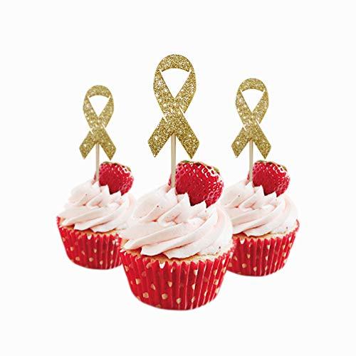 Cancer Ribbon Cupcake Topper 12 pieces per Pack Cupcake Topper Decoration Glitter Foamy Gold]()