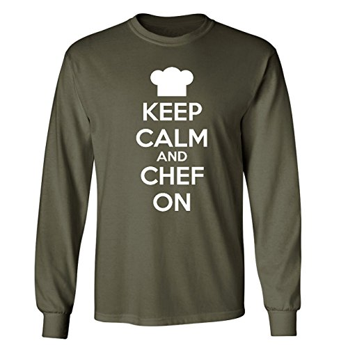 Mashed Clothing Keep Calm & Chef On Adult Long Sleeve T-Shirt (Military Green, Medium)