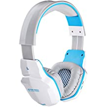 EACH B3505 Game Headset Wireless Bluetooth Stereo Headphone 3.5mm Plug + USB Professional Lightweight Gaming Headphone for iPhone,Tablet PC White+Blue