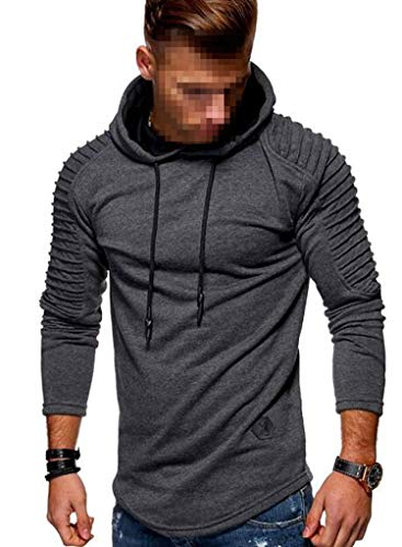 Pleated Sleeve Long Fleece Hoodie Mens Casual Sweatshirts Hem Patch Detail Fall Winter,Dark Gray,L