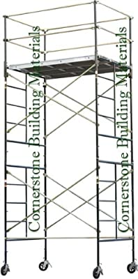 "Stages Scaffolding Rolling Tower 5' X 7' X 14'2"" High With 3 Decks And Guard Rail Cbm1290"