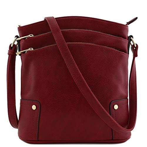 Triple Zip Pocket Large Crossbody Bag (Wine)