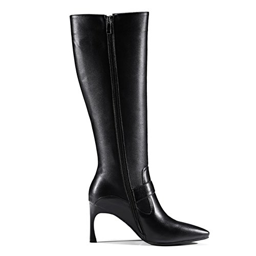 Thin Dress Shoes Knee Black Toe buckle High ZB Heel Formal Pointed Strange strap Boots VOCOSI 012 Women's High Leather gxwqXZ