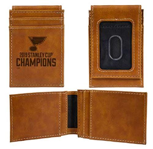 St Louis Blues 2019 Champions Leather Money Clip Front Pocket Wallet Hockey