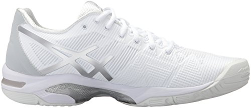 ASICS Women's White 3 Silver Tennis Gel Shoe Solution Speed rr0FdTxqw