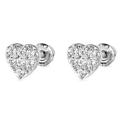 14k WG Heart Stud Earrings 4883 ()