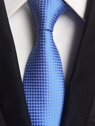 New Classic Checks Baby Blue White JACQUARD WOVEN 100% Silk Men's Tie - Jojo Armani