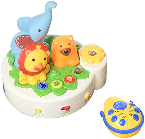 Wishland Music Sweet Dreams Light-Show Projector Forest Animal Music Box Light-Show Toys for 6 Month and Up Baby Infant Newborn with Remote Controller