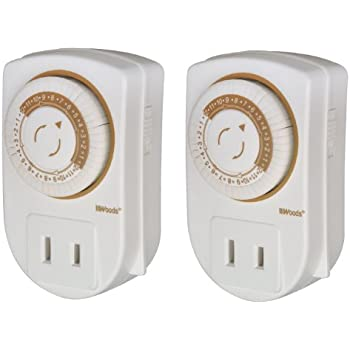 Woods 50006WD Indoor 24hr Mechanical Outlet Timer, 2 Pack, 1 Polarized Outlet