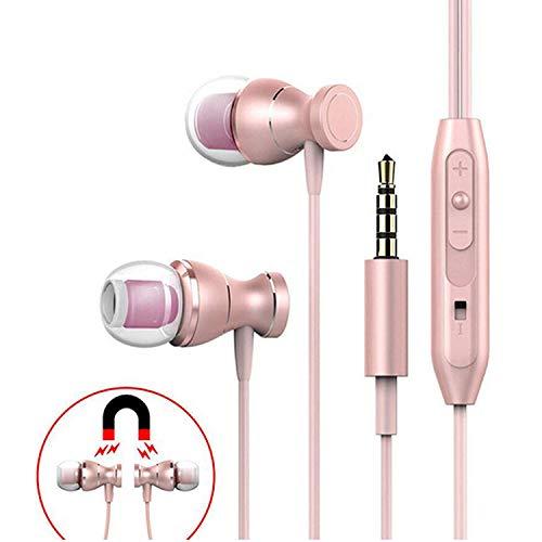 Earphones,TRONOE Sport In Ear Headphones Earbuds Heaphones Headset Earphones with 3.5mm Metal Housing Magnetic Best Wired Bass Stereo Headset Built-in Mic/Hands-free/Volume Control. (Golden-Ponk)