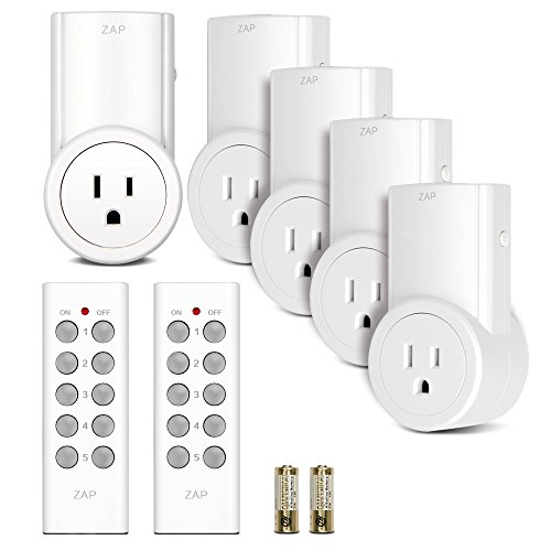 Etekcity Wireless Remote Control Electrical Outlet Switch for Household Appliances, White (Learning Code, 5Rx-