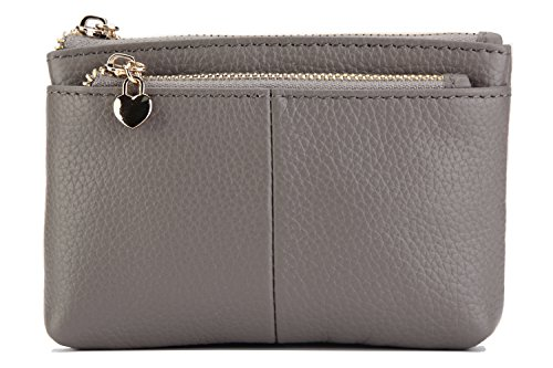 ZOOEASS Women Genuine Leather Zip Mini Coin Purse With Key Ring Triple Zipper Card Holder Wallet (Grey)