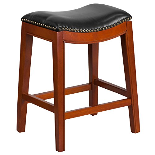 Flash Furniture 26'' High Backless Light Cherry Wood Counter Height Stool with Black Leather Seat (Saddle Cherry)