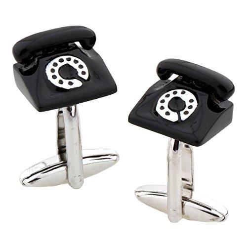 MRCUFF Telephone Rotary Desk Phone Pair Cufflinks in a Presentation Gift Box & Polishing Cloth