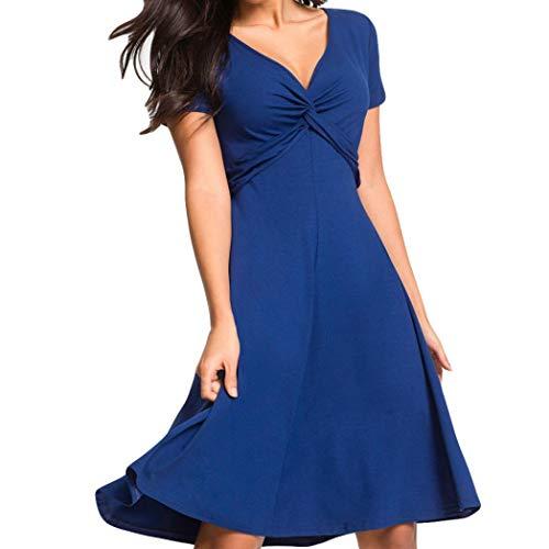 1e674a319e Tallas Mujer Verano Vestido Ajustado ◉ω◉ Corta Grandes Corto Mujeres  Cortoas Sólido Azul Vestidos ...