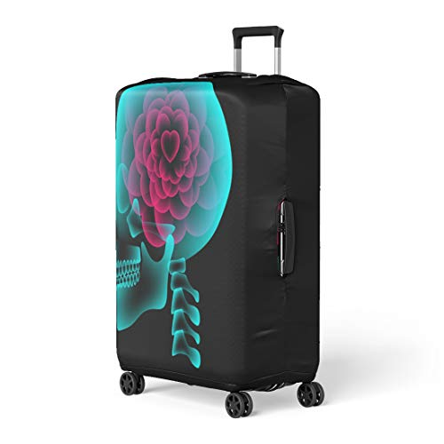 (Semtomn Luggage Cover Skull X Ray Heart Flower Symbol Love Side View Travel Suitcase Cover Protector Baggage Case Fits 26-28 Inch)