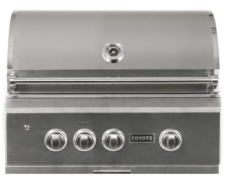 Coyote S-Series 30-Inch 2-Burner Built-in Natural Gas Grill with Rapidsear Infrared Burner, Ceramic Briquette Grids- C2SL30NG