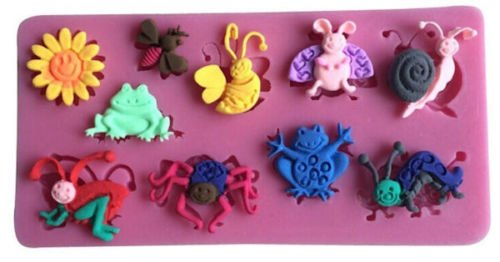 Mini Garden Insects Silicone Mold,Pink (Bug Mold)