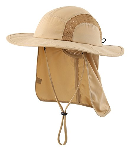 Home Prefer Kids Safari Hat UPF 50+ Sun Protective Cap Boys Bucket Hat with Flap Outdoor Play Hat Khaki]()