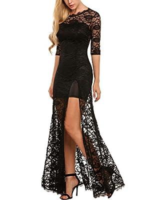 AL'OFA Women's Elegant Floral Lace Sexy Split Evening Wedding Formal Maxi Dress