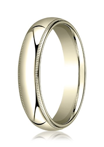 Mens 18K Yellow Gold, 5mm Slightly Domed Comfort-Fit Ring with Milgrain (sz 12)