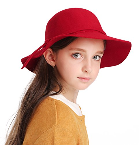 Kids Girl's Vintage Dome Wool Felt Bowler Cap Floppy Hat Bow,Red