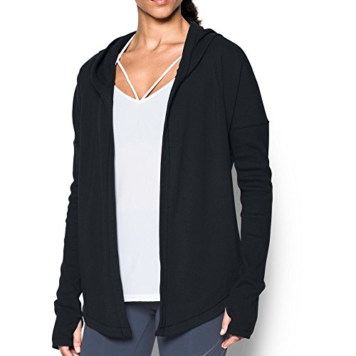 Under Armour Women's Modern Terry Open Front Cardigan, Black/Gray Area, Small