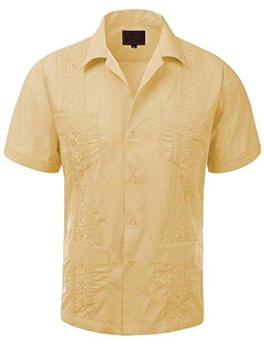 vkwear Guayabera Men's Cuban Beach Wedding Short Sleeve Button-up Casual Dress Shirt (Large, Light Yellow)