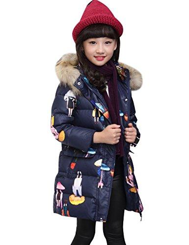 CUKKE Girl's Down Fur Hooded Jacket Winter Warm Outwear Winter Coat (130,Navy) by CUKKE