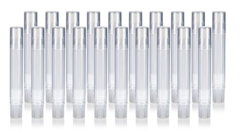 Slim Clear Natural Empty DIY Lip Balm Container Tubes (20 pack) + Funnel, 0.07 oz / 2 ml - Twist Up Base and Cap, For lip balm, solid perfume, body balms, cuticle creams and more! 0.07 Ounce Tube