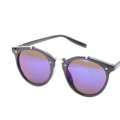 amp; Frame de de Alomejor Gato Lens de de UV400 Hombre Black Mujer amp; con y Black Redondas para Marco Grey Ojo Frame Sol Sol Lens Blue Gafas Gafas YwCxwqS4