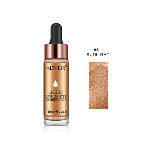 Aliver Glow Liquid Highlighter Contouring, Brighten Shimmer 3D Highlighters Ultra-concentrated Illuminating Bronzing Drops – 6 Colors Available (#5 SUNLIGHT)