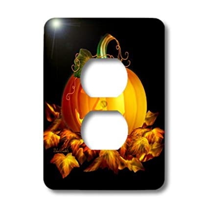 3dRose lsp/_11657/_6 Glowing JackoLantern and Autumn leaves on Halloween night on black background 2 Plug Outlet Cover