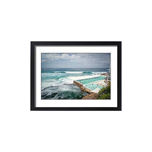 Media Storehouse Framed 24x18 Print of Furious Sea by Bondi Icebergs Pool (13475349)