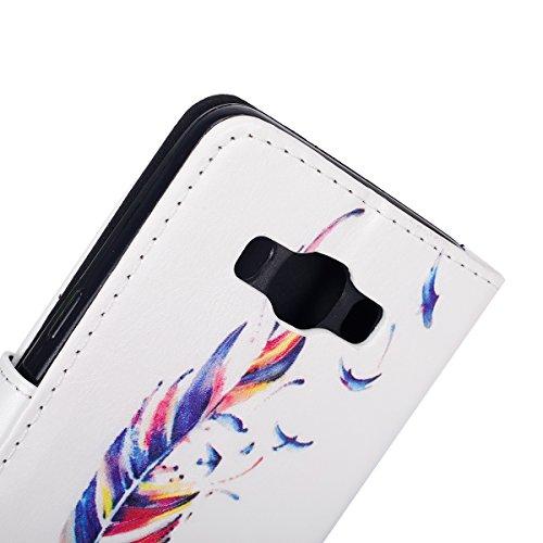 Funda para [Samsung Galaxy J5(2016)] ,ETSUE PU Cuero Cover Case para Samsung Galaxy J5(2016),Funda de Cuero Pintado de Moda Patrón con la Mariposa Protector de Funda para telefono movil para Samsung G Colorido Pluma