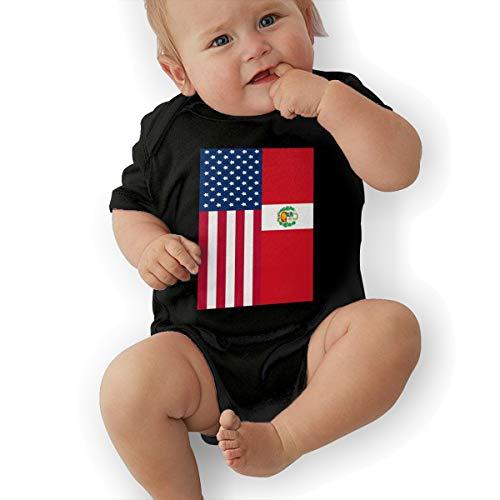 U88oi-8 Short Sleeve Cotton Bodysuit for Baby Girls Boys, Fashion Peru American Flag Crawler Black -