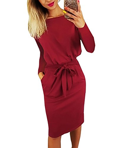 PRETTYGARDEN Women's 2018 Casual Long Sleeve Party Bodycon Sheath Belted Dress with Pockets (Y-Wine Red, Large)