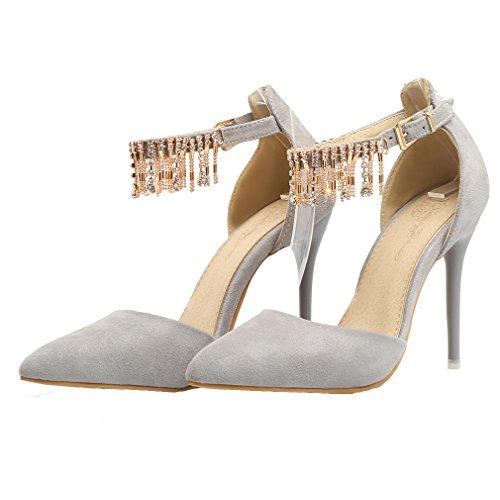YE Damen Riemchen Wildleder Stiletto High Heel Spitz Pumps mit Schnalle und Strass Elegant Party 10 cm Absatz Schuhe Grau