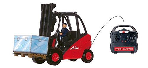 Dickie-Spielzeug 203727000 - Gabelstapler Work Master mit Kabelfernsteuerung, Auto Und Verkehrsmodell, rot/schwarz