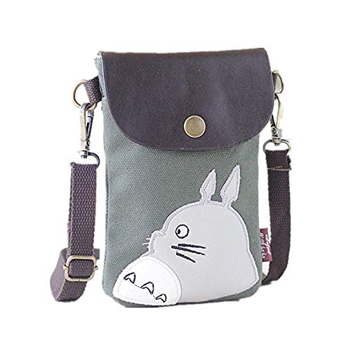 Dukars Women Portable Small Crossbody Bags Travel Cell Phone Purse Wallet Bags (Totoro) (Totoro Phone Strap)