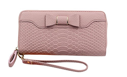 SELECTIA Women's Wallet rfid blocking with wrist strap small clutches evening formal purse for party guess elegant smart phones 18-in-1 Clutch Handbag with Strap Cute Bow 23 (Pink)