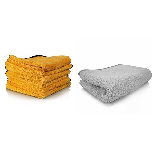 Chemical Guys MIC_507_06 Professional Grade Premium Microfiber Towel, Gold (16 in. x 24 in.) (Pack of 6) and Chemical Guys MIC_781_01 Waffle Weave Gray Matter Microfiber Drying Towel (25 in. x 36 in.) Bundle