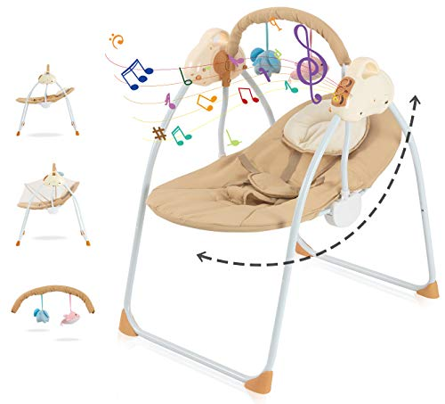 Baby Swing and Seat Electric Bassinet for Baby Multifunction Baby Cradle Bed,Portable Baby Rocker Cradle Infant-to-Toddler Rocker with Remote , Music, Adjustable Speed for 0-12 Months (Khaki)