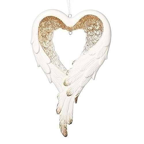 - Wrapped in Angel's Wings Heart Gilded Gold 4 x 6.5 Inch Porcelain Holiday Tree Ornament