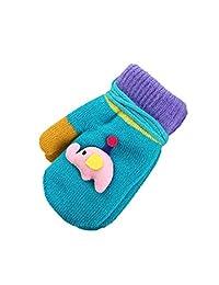 Yuxing Children Cute Elephants Knitting Winter Gloves Warm Full Finger Gloves