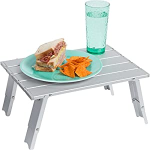 """Trademark Innovations 15.7"""" Compact Folding Beach and Camping Aluminum Table"""