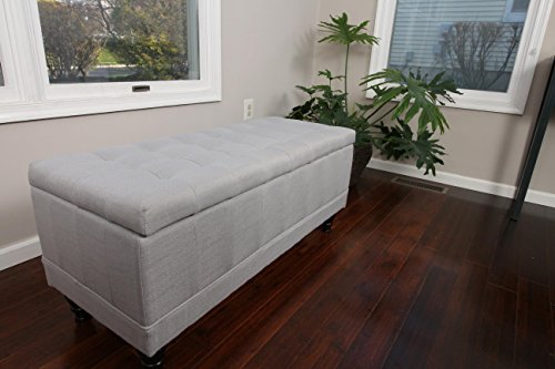 Home Life Lift Top Storage Bench with Tufted Accents Light Grey Linen Fabric with Wooden Legs